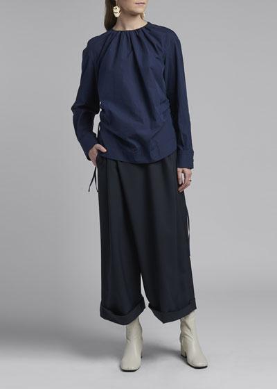 Poplin Button-Back Long-Sleeve Blouse