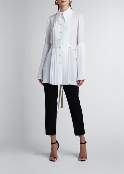 Pleated Silk Georgette Long-Sleeve Blouse
