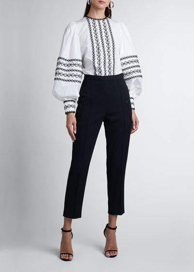 Straight-Leg Pleated Crepe Cropped Pants