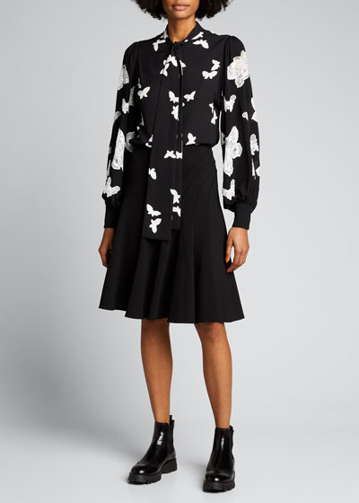 Butterfly-Print Neck-Tie Blouse