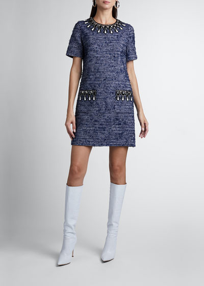 Embellished Short-Sleeve Tweed Mini Dress