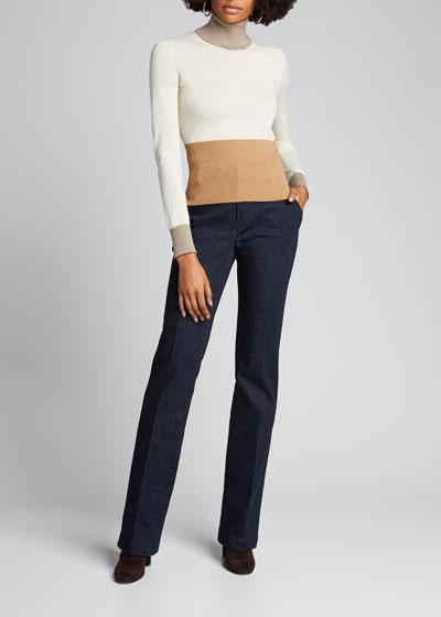 Piuma Turtleneck Colorblock Cashmere Sweater