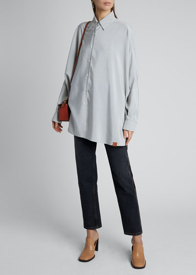 Striped Batwing-Sleeve Oversized Shirt