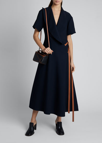 Short-Sleeve Wrap Dress with Leather Straps