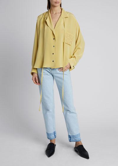 Satin Long-Sleeve Anagram Pajama Blouse