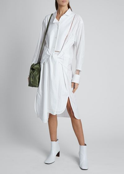 Tie-Front Midi Shirt Dress with Embroidery