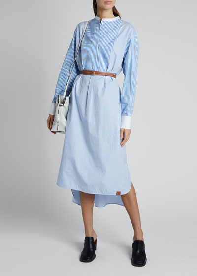 Striped Cotton Shirtdress with Leather Belt