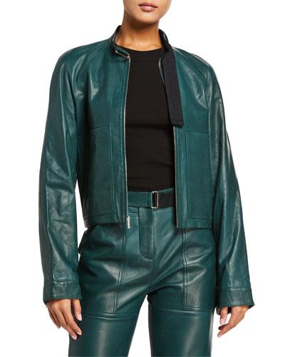 Leather Moto Utility Jacket