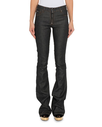 Zip-Front Flare Jeans