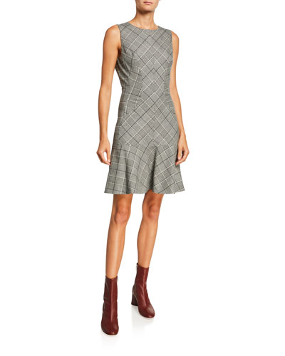 Plaid Wool Sleeveless Flounce Dress