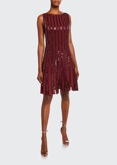 Sequin-Striped Sleeveless Cocktail Dress