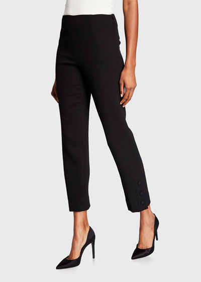 Wool Crepe Button-Placket Crop Pants