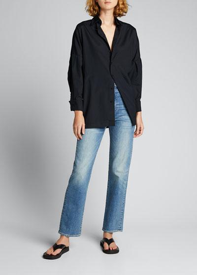 Dropped-Shoulder Cotton Button-Down Shirt