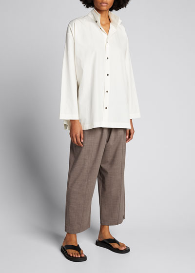 Double-Collar A-Line Cotton Shirt