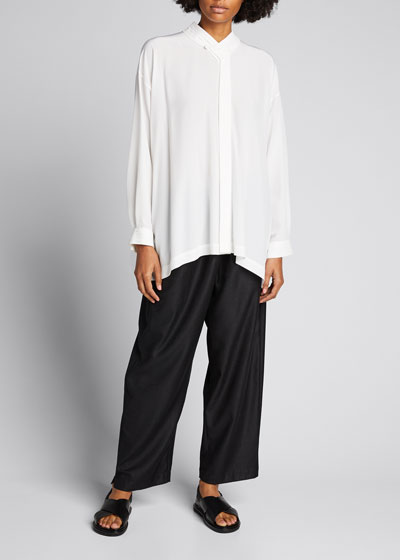 Collared A-Line Silk Shirt with Pleats