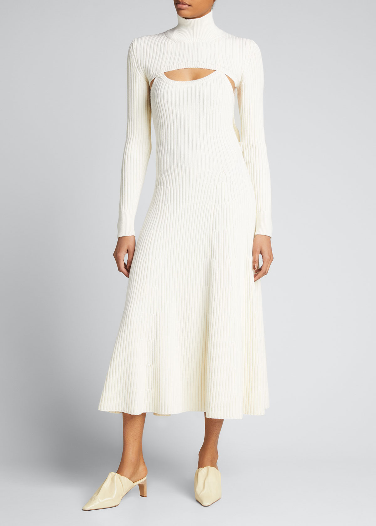 Rosie Assoulin CABLE-KNIT WOOL MAXI DRESS W/ REMOVABLE SWEATER