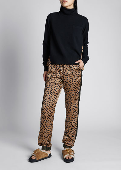 Wool Turtleneck Sweater with Pleated Leopard Back