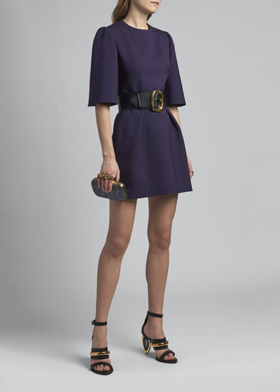 Wide Sleeve Mini Wool Dress