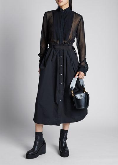 Sheer Button-Down Poplin Shirt Dress