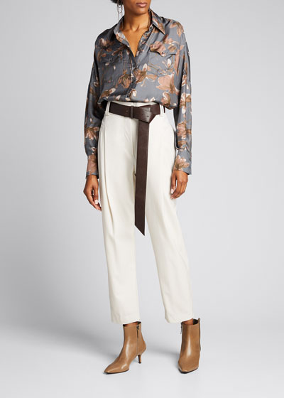 Floral-Print Silk Button-Down Blouse