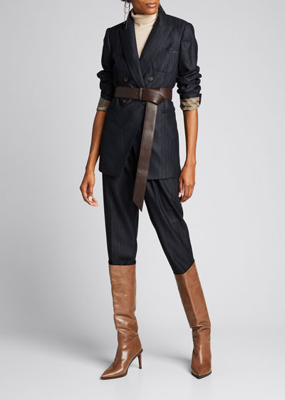 Pinstripe Wool Pleated Cropped Trousers