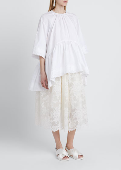 Ruffle Embroidered Poplin Blouse