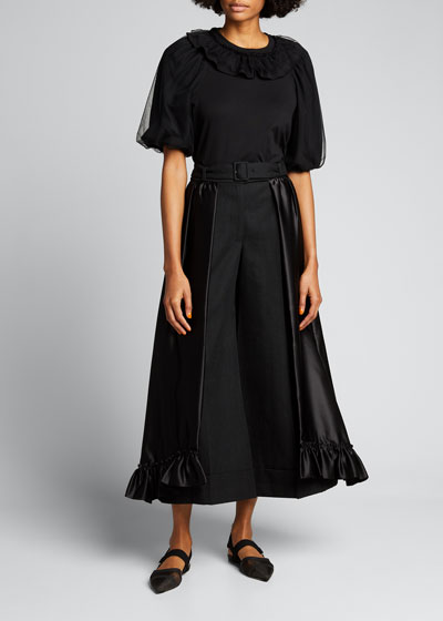 Tulle Puff-Sleeve Frill Top