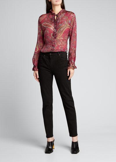 Floral Embroidered-Pocket Skinny Jeans