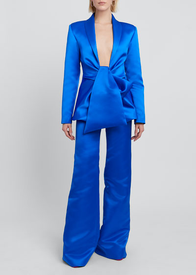 Front-Tie Draped Satin Blazer