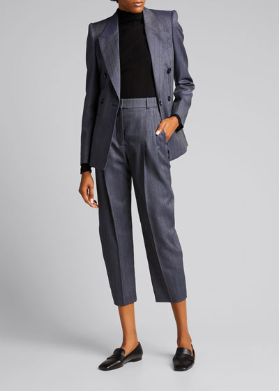 Wool-Blend Pleated Cropped Trousers