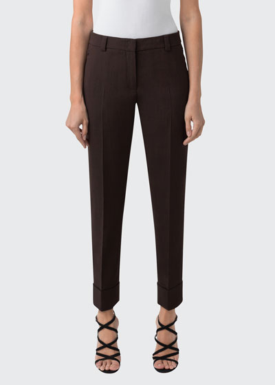 Stretch Wool Cuffed Ankle Pants