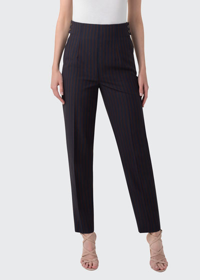 Stretch Wool Pinstripe Ankle Pants