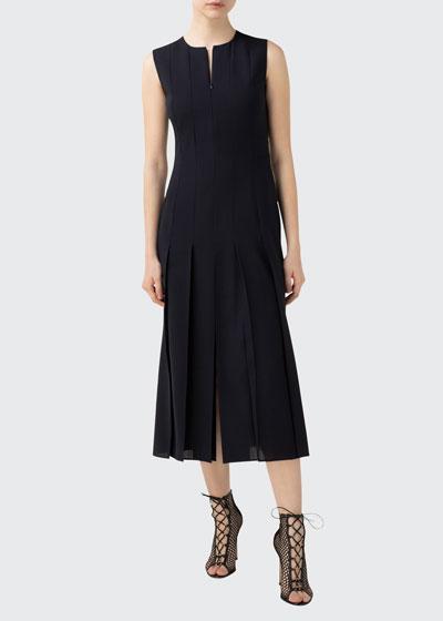 Zip-Front Seamed Wool-Blend Dress