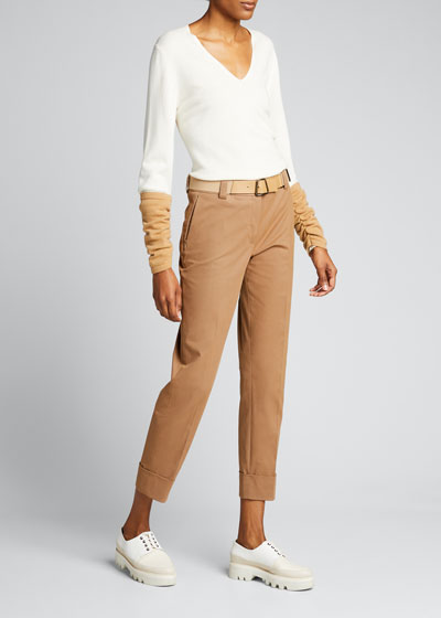 Maxima Cropped Stretch Cotton Poplin Pants