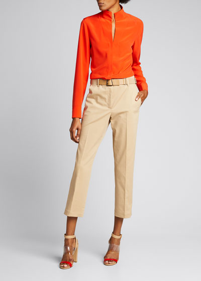 Flavian Cropped Stretch Cotton Pants