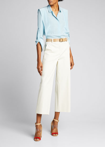 Christelle Double-Face Cropped Wide-Leg Pants
