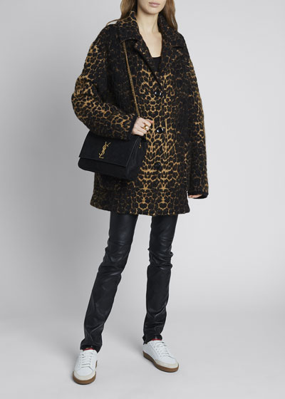 Leopard Jacquard 3-Button Coat