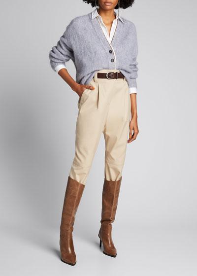Cotton-Wool High-Waist Trousers w/ Seaming