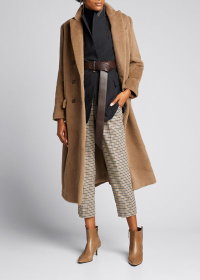 Wool Flannel Check Trousers with Monili Belt