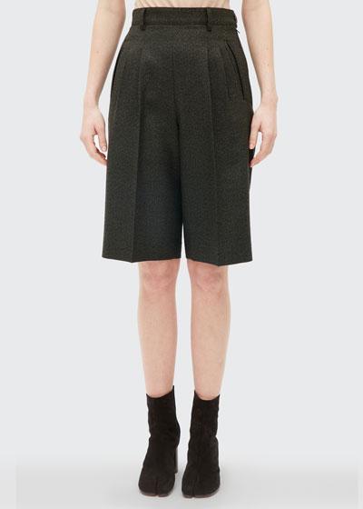 Wool Canvas High-Waist Shorts
