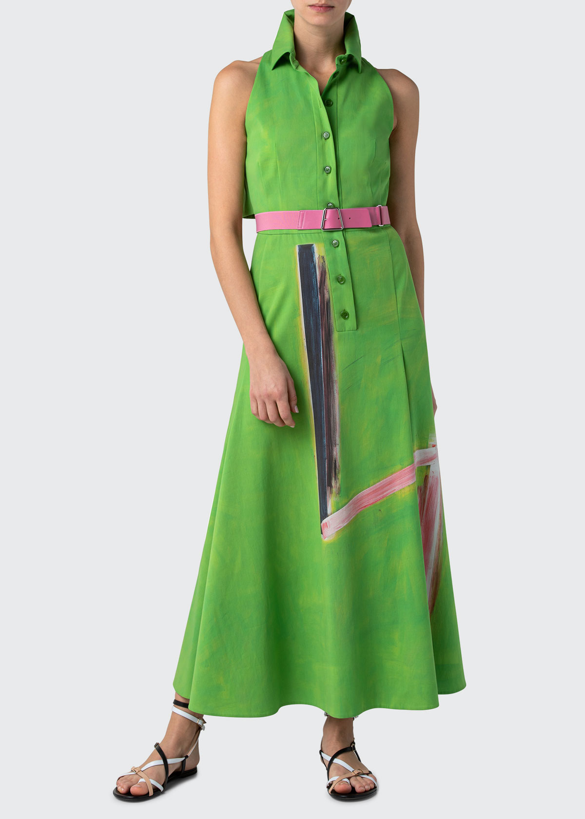 Akris COLLARED SLEEVELESS BELTED A-LINE DRESS