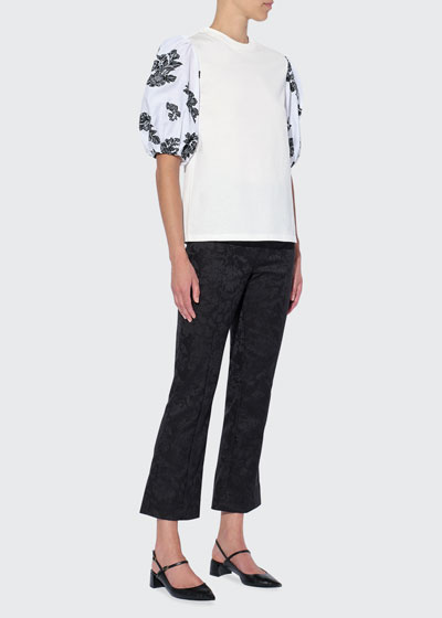 Theodora Puff-Sleeve Jersey T-Shirt