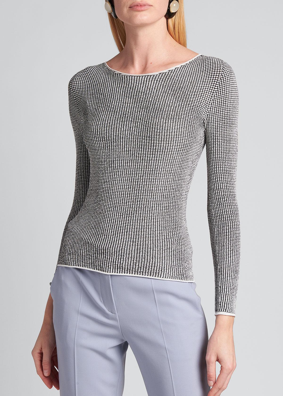 Giorgio Armani Sweaters MINI CHECK RIB KNIT BATEAU-NECK SWEATER