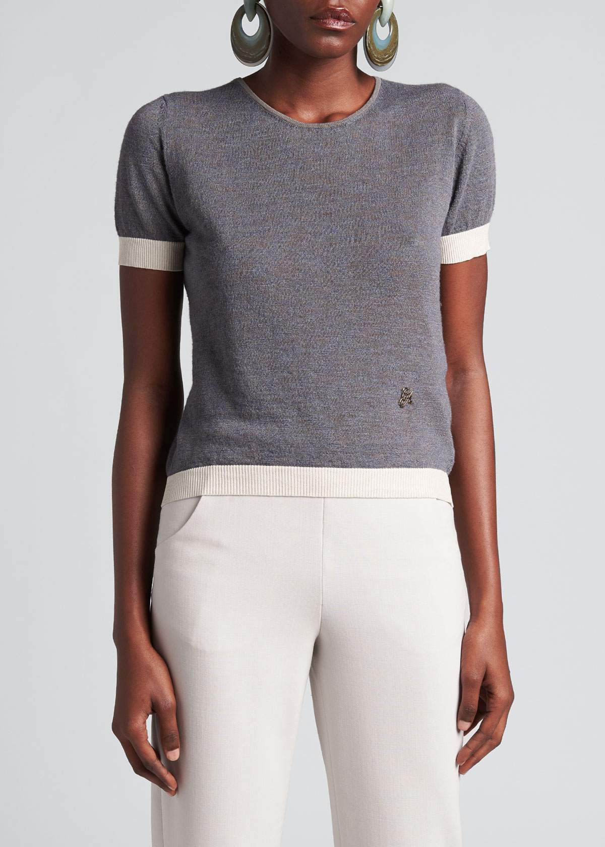 Giorgio Armani T-shirts SILK-LINEN RIBBED SHORT-SLEEVE T-SHIRT