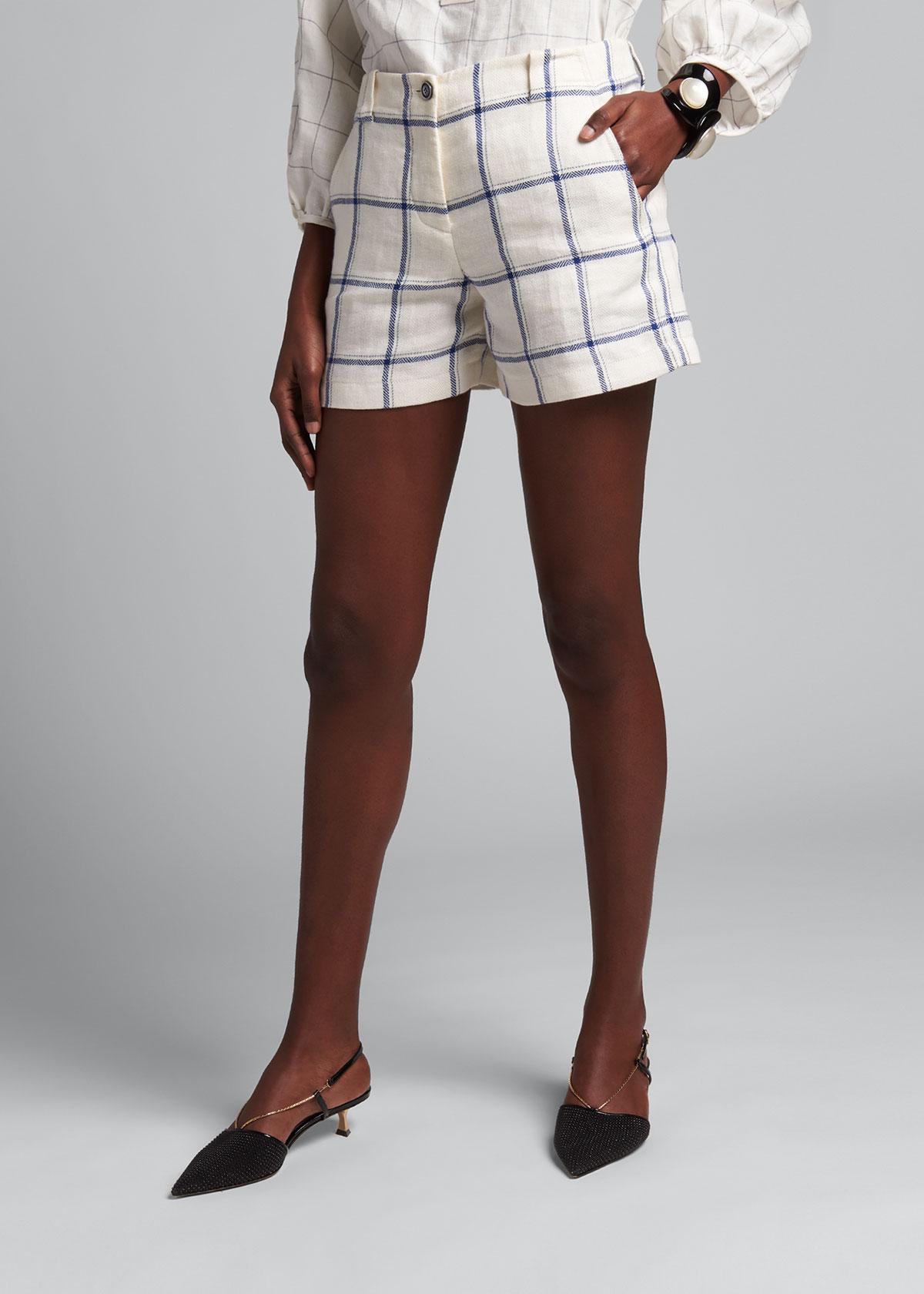 Giorgio Armani Shorts WINDOWPANE CHECK LINEN SHORTS