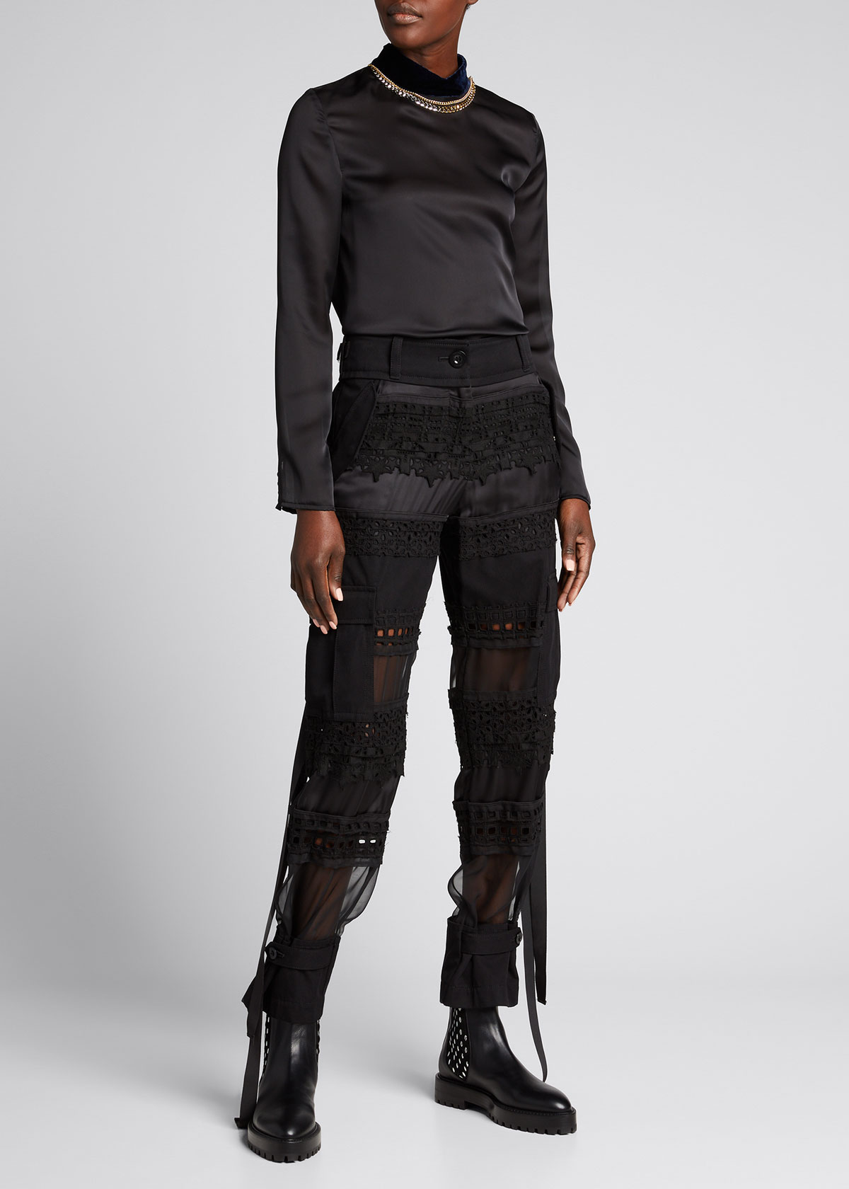 Sacai LACE EMBROIDERED SHEER CROPPED PANTS