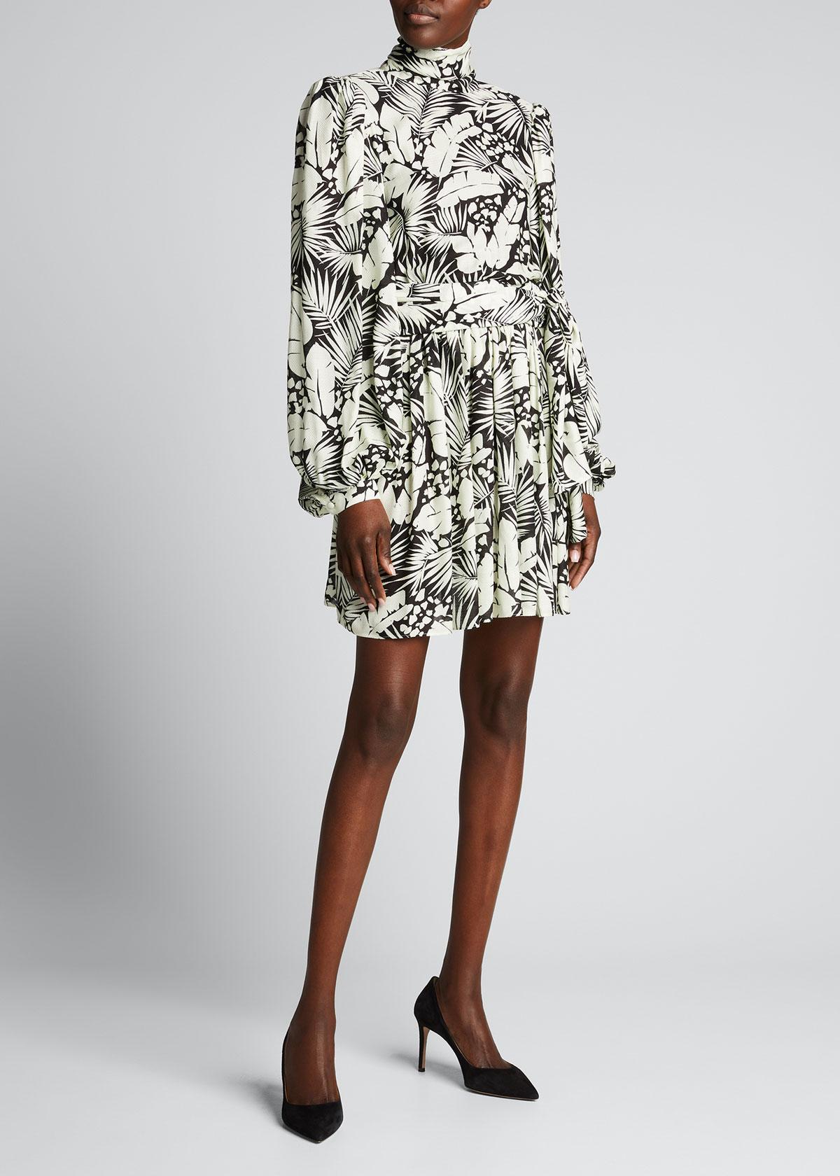 Saint Laurent TROPICAL-PRINT FIT-&-FLARE DRESS