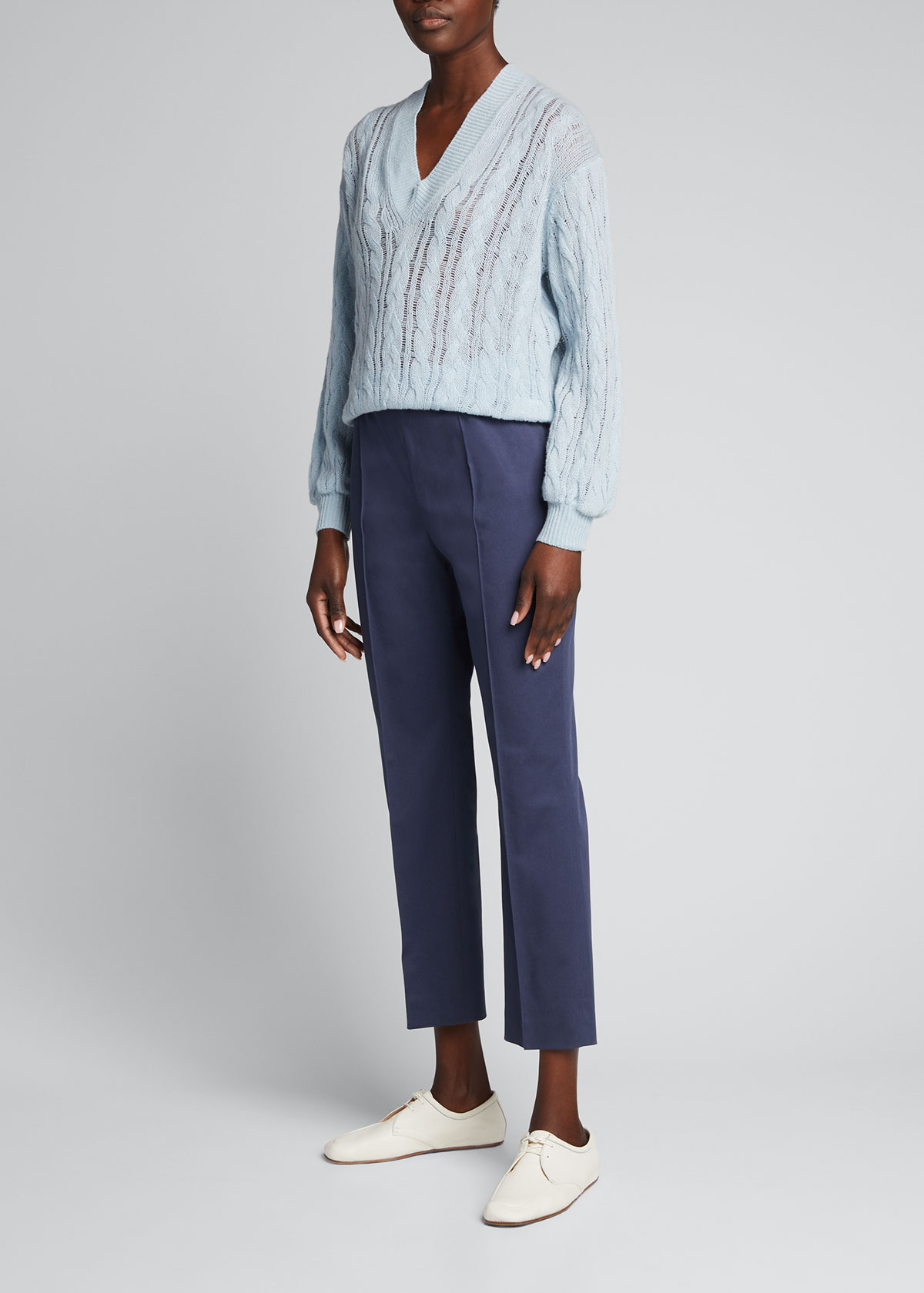 Agnona STRETCH-COTTON SEAMED FORMAL TROUSERS