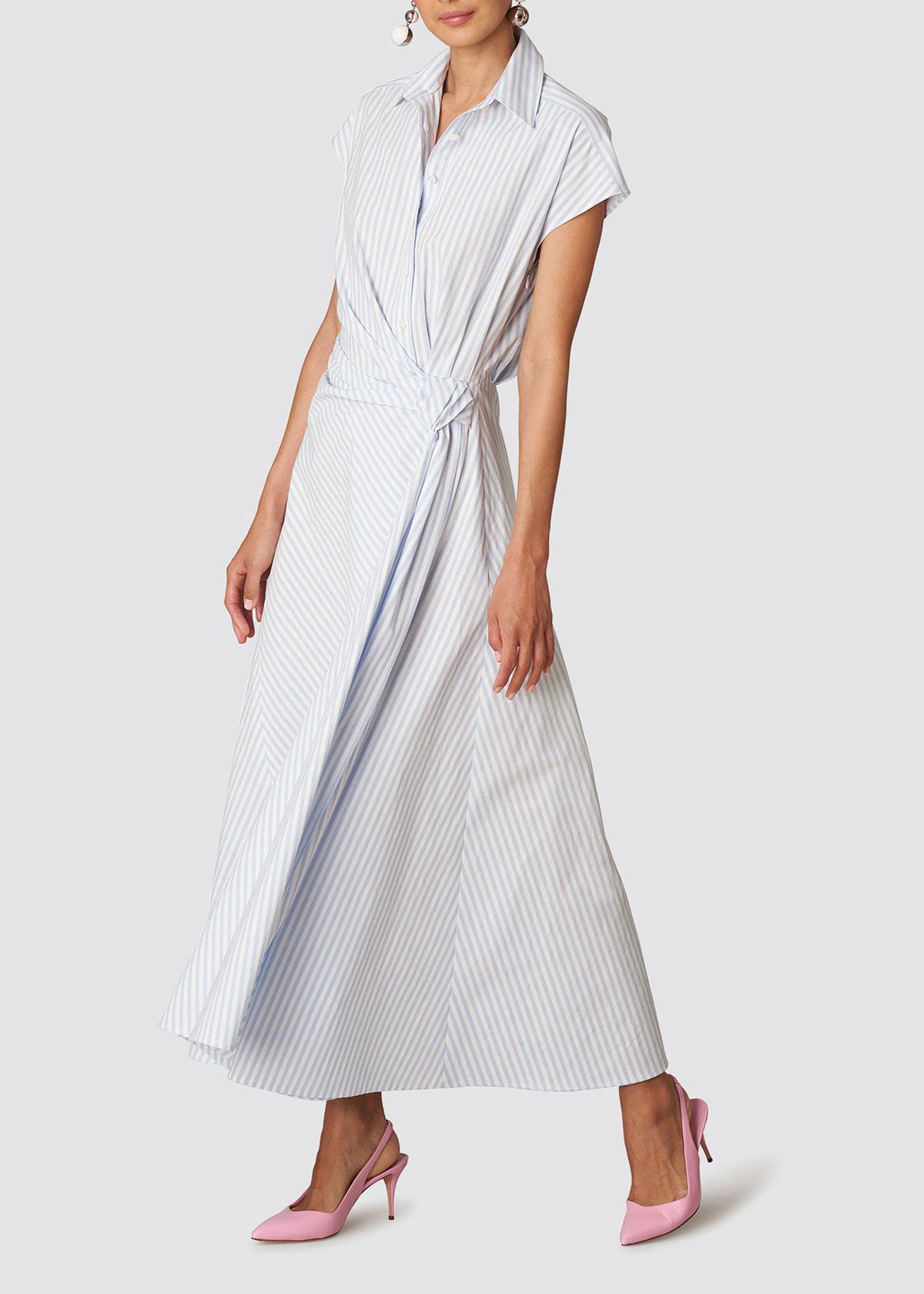 Carolina Herrera STRIPED SIDE-KNOT DRESS