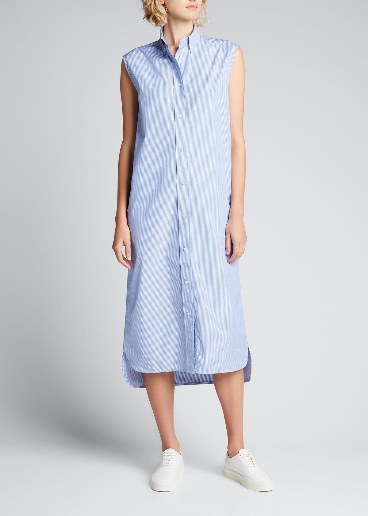 Loulou Studio UKARA LONG STRIPED COTTON DRESS